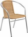 Commercial Aluminum and Beige Rattan Indoor-Outdoor Restaurant Stack Chair [TLH-020-BGE-GG]