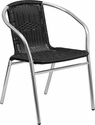 Commercial Aluminum and Black Rattan Indoor-Outdoor Restaurant Stack Chair [TLH-020-BK-GG]