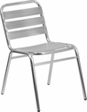 Commercial Aluminum Indoor-Outdoor Restaurant Stack Chair with Triple Slat Back [TLH-015-GG]