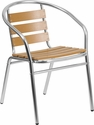 Commercial Aluminum Indoor-Outdoor Restaurant Stack Chair with Triple Slat Faux Teak Back [TLH-017W-GG]