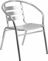 Commercial Aluminum Indoor-Outdoor Restaurant Stack Chair with Triple Slat Back and Arms [TLH-017B-GG]