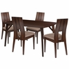 Anderson 5 Piece Espresso Wood Dining Table Set with Curved Slat Keyhole Back Wood Dining Chairs - Padded Seats [ES-4-GG]