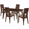 anderson 5 Piece Walnut Wood Dining Table Set with Curved Slat Keyhole Back Wood Dining Chairs - Padded Seats [ES-18-GG]