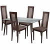 Arcadia 5 Piece Espresso Wood Dining Table Set with Glass Top and Framed Rail Back Design Wood Dining Chairs - Padded Seats [ES-121-GG]
