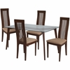 Arcadia 5 Piece Walnut Wood Dining Table Set with Glass Top and Framed Rail Back Design Wood Dining Chairs - Padded Seats [ES-135-GG]