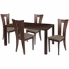 Ardley 5 Piece Espresso Wood Dining Table Set with Slotted Back Wood Dining Chairs - Padded Seats [ES-33-GG]
