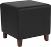 Ascalon Upholstered Ottoman Pouf in Black Leather [QY-S09-BKL-GG]