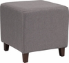 Ascalon Upholstered Ottoman Pouf in Light Gray Fabric [QY-S09-LGY-GG]