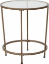 Astoria Collection Glass End Table with Matte Gold Frame [NAN-JN-21750ET-GG]