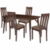 Avondale 5 Piece Espresso Wood Dining Table Set with Vertical Slat Back Wood Dining Chairs - Padded Seats [ES-14-GG]