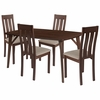 Avondale 5 Piece Walnut Wood Dining Table Set with Vertical Slat Back Wood Dining Chairs - Padded Seats [ES-28-GG]