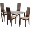 Baldwin 5 Piece Espresso Wood Dining Table Set with Glass Top and Padded Wood Dining Chairs [ES-120-GG]