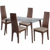 Baldwin 5 Piece Walnut Wood Dining Table Set with Glass Top and Padded Wood Dining Chairs [ES-134-GG]