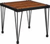 Baldwin Collection Rustic Walnut Burl Wood Grain Finish Side Table with Black Metal Legs [NAN-JH-1791ET-GG]