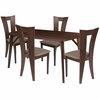 Barnes 5 Piece Espresso Wood Dining Table Set with Slotted Back Wood Dining Chairs - Padded Seats [ES-5-GG]