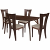Barnes 5 Piece Walnut Wood Dining Table Set with Slotted Back Wood Dining Chairs - Padded Seats [ES-19-GG]