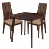 Barrington 3 Piece Walnut Wood Dining Table Set with Wide Slat Back Wood Dining Chairs - Padded Seats [ES-71-GG]