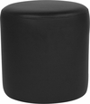Barrington Upholstered Round Ottoman Pouf in Black Leather [QY-S10-5001-1-BKL-GG]