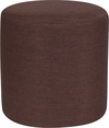 Barrington Upholstered Round Ottoman Pouf in Brown Fabric [QY-S10-5001-1-BRN-GG]