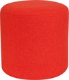 Barrington Upholstered Round Ottoman Pouf in Orange Fabric [QY-S10-5001-1-OR-GG]