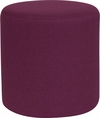 Barrington Upholstered Round Ottoman Pouf in Purple Fabric [QY-S10-5001-1-PRP-GG]