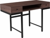 Bartlett Dark Ash Wood Grain Finish Desk with Drawers and Black Metal Legs [NAN-NJ-29315-GG]