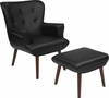 Bayton Upholstered Wingback Chair with Ottoman in Black Leather [QY-B39-CO-BKL-GG]