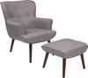 Bayton Upholstered Wingback Chair with Ottoman in Light Gray Fabric [QY-B39-CO-LGY-GG]