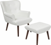 Bayton Upholstered Wingback Chair with Ottoman in White Leather [QY-B39-CO-WHL-GG]