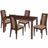 Beckham 5 Piece Walnut Wood Dining Table Set with Curved Slat Wood Dining Chairs - Padded Seats [ES-45-GG]