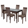Belvedere 5 Piece Espresso Wood Dining Table Set with Glass Top and Vertical Slat Back Wood Dining Chairs - Padded Seats [ES-98-GG]