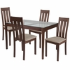 Belvedere 5 Piece Walnut Wood Dining Table Set with Glass Top and Vertical Slat Back Wood Dining Chairs - Padded Seats [ES-112-GG]