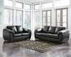 Benchcraft Fezzman Living Room Set in Black Leather [FSD-6529SET-BLK-GG]
