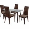 Berkeley 5 Piece Espresso Wood Dining Table Set with Glass Top and Wide Slat Back Wood Dining Chairs - Padded Seats [ES-141-GG]