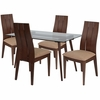 Berkeley 5 Piece Walnut Wood Dining Table Set with Glass Top and Wide Slat Back Wood Dining Chairs - Padded Seats [ES-155-GG]