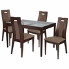 Bishop 5 Piece Espresso Wood Dining Table Set with Glass Top and Curved Slat Wood Dining Chairs - Padded Seats [ES-87-GG]