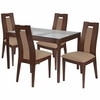 Bishop 5 Piece Walnut Wood Dining Table Set with Glass Top and Curved Slat Wood Dining Chairs - Padded Seats [ES-101-GG]