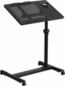 Black Adjustable Height Steel Mobile Computer Desk [NAN-JG-06B-BK-GG]