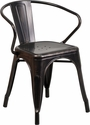 Black-Antique Gold Metal Indoor-Outdoor Chair with Arms [CH-31270-BQ-GG]
