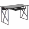Black Computer Desk with Pull-Out Keyboard Tray [NAN-WK-004-GG]
