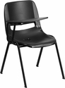 Black Ergonomic Shell Chair with Right Handed Flip-Up Tablet Arm [RUT-EO1-BK-RTAB-GG]