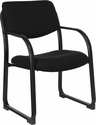 Black Fabric Executive Side Reception Chair with Sled Base [BT-508-BK-GG]
