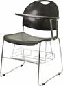 Black Plastic Chair with Left Handed Flip-Up Tablet Arm and Book Basket [RUT-NC188-03C-04A-LFT-GG]