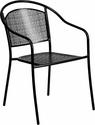 Black Indoor-Outdoor Steel Patio Arm Chair with Round Back [CO-3-BK-GG]