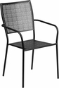 Black Indoor-Outdoor Steel Patio Arm Chair with Square Back [CO-2-BK-GG]