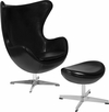 Black Leather Egg Chair with Tilt-Lock Mechanism and Ottoman [ZB-9-CH-OT-GG]