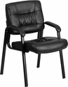 Black Leather Executive Side Reception Chair with Black Frame Finish [BT-1404-GG]