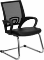 Black Mesh Side Reception Chair with Leather Seat and Sled Base [CP-D119A01-BK-GG]