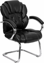 Black Leather Button Tufted Transitional Side Reception Chair with Sled Base [GO-908V-BK-SIDE-GG]