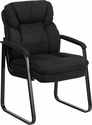 Black Microfiber Executive Side Reception Chair with Sled Base [GO-1156-BK-GG]